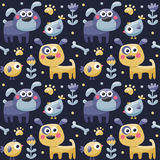 Seamless cute pattern made with dog, birds, flowers, paw, trace, plants, berries Royalty Free Stock Images