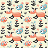 Seamless cute pattern made with dog, birds, flowers, paw, trace, plants, berries Royalty Free Stock Photos