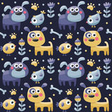 Seamless cute pattern made with dogs, birds, flowers, bone, paw, plants Stock Image