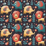 Seamless cute pattern made with elephants, lion,giraffe, birds, plants, jungle, flowers, hearts, leafs, stone Stock Photo