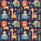 Seamless cute pattern made with elephants, lion,giraffe, birds, plants, jungle, flowers, hearts, leafs, stone, berry for Stock Photos