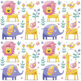 Seamless cute pattern made with elephants, lion,giraffe, birds, plants, jungle, flowers, hearts, leafs, stone, berry for Royalty Free Stock Photography
