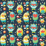 Seamless cute pattern made with monsters, bubbles, flower, heart Royalty Free Stock Photography