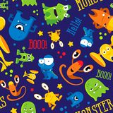 Seamless cute pattern made with monsters, bubbles and words hello, monster Stock Images
