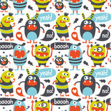 Seamless cute pattern made with monsters, bubbles and words Stock Photo