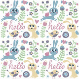 Seamless cute pattern made with rabbit, hare, bird, flowers, animals, plants, hearts, love, hello, berry, Valentine Royalty Free Stock Images