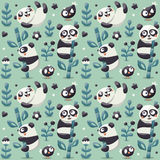 Seamless cute pattern with Panda and bamboo, plants, jungle, bird, berry, flowers Royalty Free Stock Images