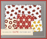 Seamless cute pattern set Stock Images