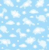 Seamless cute pattern of sky with funny toy clouds Royalty Free Stock Photos