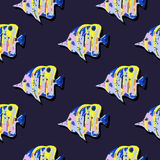 Seamless cute pattern with tropical fish. Seamless cute pattern with a different tropical fish Stock Photos