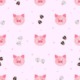 Seamless cute pig pattern. Vector illustration Royalty Free Stock Images