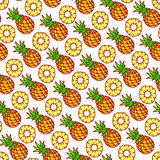 Seamless cute pineapples Royalty Free Stock Photos