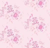 Seamless cute pink background for girls with bears and hearts. Stock Photos