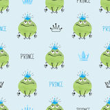 Seamless cute Prince Frogs pattern Royalty Free Stock Photography