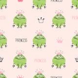 Seamless cute princess frogs pattern. Stock Photography
