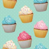 Seamless cute romantic cupcake repeating tiled patten stock illustration