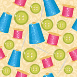 Seamless cute sewing background Stock Image