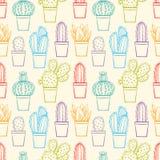 Seamless cute sketch cactus Stock Image