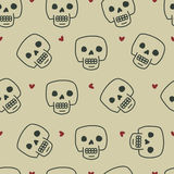 seamless cute skull pattern Stock Photos