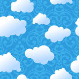 Seamless cute sky and clouds pattern Stock Photo