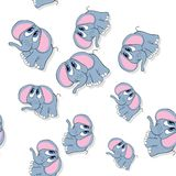 Seamless cute smiling elephant pattern on white Stock Photography
