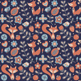 Seamless cute spring floral pattern made with flowers, fox, birds, plants, strawberry, cherry, berries, leaves, nature Royalty Free Stock Images
