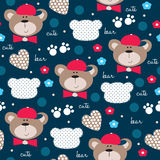 Seamless cute teddy bear pattern vector illustration Royalty Free Stock Photo