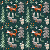 Seamless cute winter christmas pattern made with fox, rabbit, mushroom, moose, bushes, plants, snow, tree Stock Images