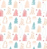 Seamless cute winter pattern. Decorative gentle background with spruces, fir-trees. Seamless cute winter pattern. Decorative gentle background with spruces, fir Stock Photography