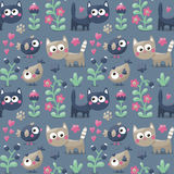 Seamless cute winter  pattern made with cats, flowers, plants, footmark, hearts, berries Stock Photography