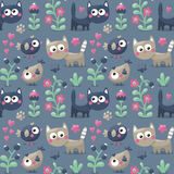 Seamless cute winter pattern made with cats, flowers, plants, footmark, hearts, berries Stock Image