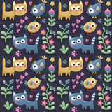 Seamless cute winter  pattern made with cats, flowers, plants, traces, hearts, berries Stock Images