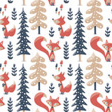 Seamless cute winter pattern made with foxes, trees, plants, mushrooms Royalty Free Stock Photo