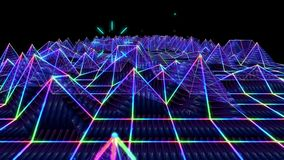 Seamless 3D abstract animation of colorful triangular sound wave geometric polygon wireframe terrain moving in a wave form stock video footage