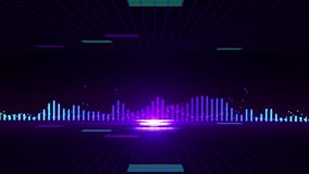 Seamless 3D abstract animation of sound wave equalizer background