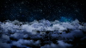 Seamless 3d animation of aerial view of cloudy night sky with clouds and star light falling with camera moving in night scene