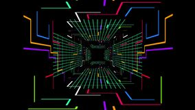 Seamless 3d Animation of digital futuristic tunnel path with color changing geometric electrical line and block grid with zooming stock footage