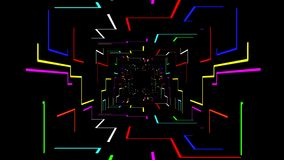 Seamless 3d Animation of digital futuristic tunnel path with colorful geometric electrical line with zooming camera movement stock video footage