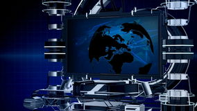Seamless 3d animation news reporting screen television or media program interface with mechanical stage with world map background stock video