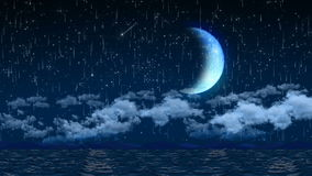 Seamless 3d animation of night sky with clouds and falling star light and giant crescent moon background screen saver