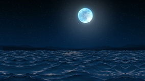 Seamless 3d Animation sea wave and ripple on the seaside shore beach at night with sparkling stars and moon glowing in 4k ultra hd