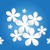 Seamless 3d blue paper flower background pattern. Stock Photography