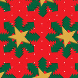 Seamless 3d christmas pattern. Seamless christmas pattern with 3d trees, stars and snowflakes on red background Royalty Free Stock Image