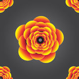 Seamless 3d colourful yellow orange embossed flower background pattern. Stock Image