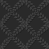 Seamless 3D dark paper cut art background 380 cross leaf flower vine Stock Image