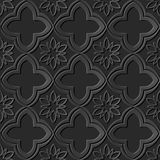 Seamless 3D dark paper cut art background 421 oriental curve cross flower Royalty Free Stock Images