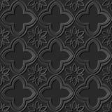 Seamless 3D dark paper cut art background 421 oriental curve cross flower Royalty Free Stock Images