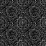 Seamless 3D dark paper cut art background 412 round cross leaf geometry chain Royalty Free Stock Photography