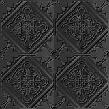 Seamless 3D dark paper cut art background 403 square check cross round flower frame Stock Images