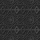 Seamless 3D elegant dark paper art pattern 007 Aboriginal Round Cross Geometry Royalty Free Stock Photo